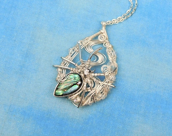 Spider Necklace, Unique Halloween Statement Pendant ,Artisan Crafted  Woven Wire Jewelry, Spooky Holiday Birthday Present Idea for Women