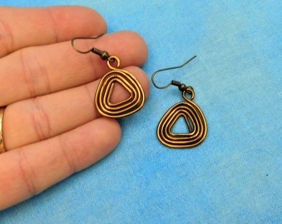 Geometric Triangle Shaped Dangle Earrings, Unique Wire Wrapped Wearable Art Jewelry, Birthday or Anniversary Present for Mother in Law Gift