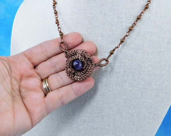 Unique Woven Wire Wrapped Amethyst Pendant, Artistic February Birthstone Necklace, Artisan Crafted Jewelry Birthday Present Ideas for Women