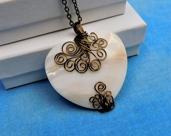 Large Heart Necklace, Unique Wire Wrapped Mother of Pearl Heart Pendant, Wearable Art Statement Jewelry Romantic Gift for Wife or Girlfriend