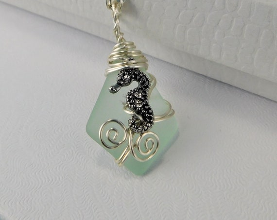 Seahorse Necklace Beach Theme Jewelry, Unique Wire Wrapped Wearable Art Fish Pendant, Handcrafted One of a Kind Wearable Art Present Ideas