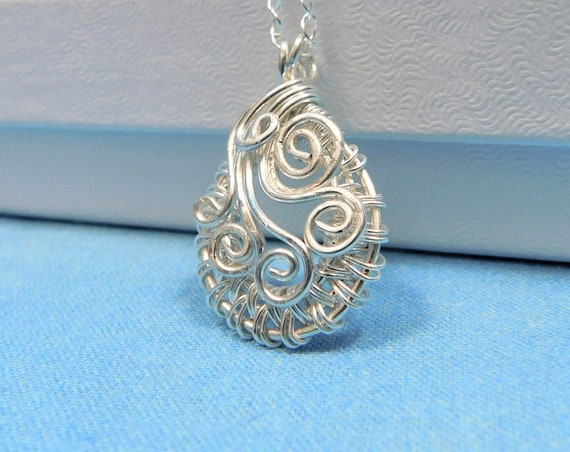Sterling Silver Sculpted Woven Wire Pendant, Artisan Crafted Wire Wrapped Necklace, Wearable Art Jewelry Present for Mother in Law Gift
