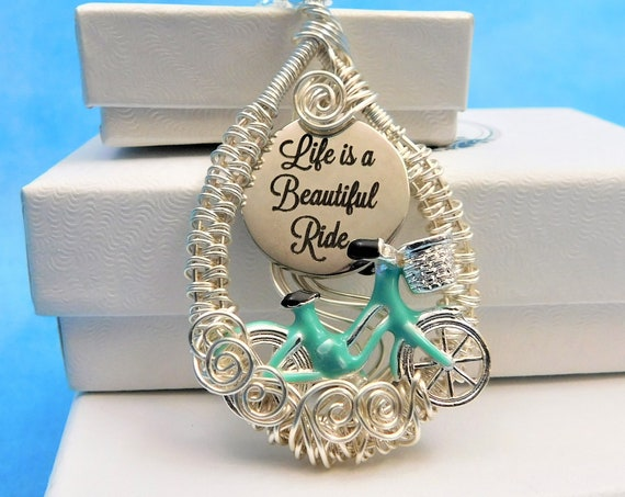 Bicycle Necklace Handmade Jewelry Artisan Crafted Unique Woven Wire Wrap Beautiful Ride Pendant Birthday Anniversary Present Idea for Women