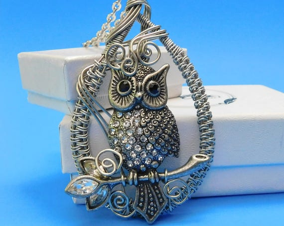 Owl Necklace Jewelry Gift for Girlfriend Unique Wire Wrapped Pendant Handmade Necklace Artistic Present for Women Wife Mom Daughter Ideas