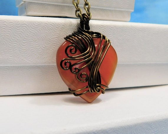 Wire Wrapped Carnelian Pendant, Artisan Crafted Gemstone Heart Necklace, Handcrafted Wearable Art Jewelry Present for Wife or Girlfriend