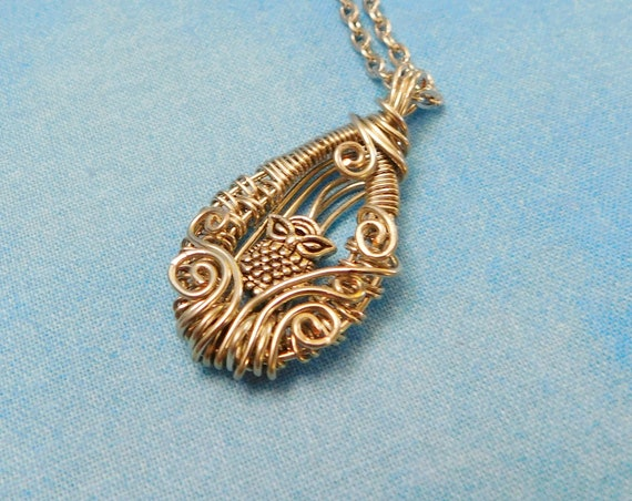 Artisan Crafted Owl Necklace, Artistic Woven Wire Wrapped Pendant, Unique Handmade Wearable Art Jewelry, Christmas Present Ideas for Women
