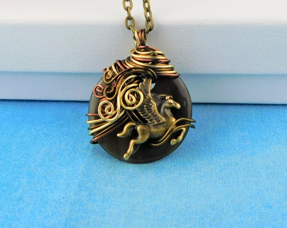Fantasy Jewelry Gift Pegasus Pendant Unique Copper Wire Wrapped Winged Horse Necklace Mythology Birthday Anniversary Present Ideas for Women