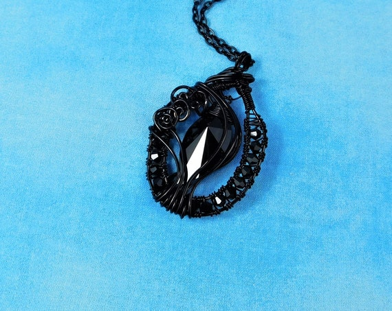 Wire Wrapped Black Crystal Necklace, Unique Artistic Handmade Statement Pendant, One of  Kind Wearable Art Jewelry Present Ideas for Women
