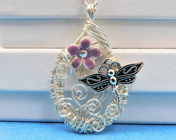Wire Wrapped Dragonfly Necklace, Artistic Handmade Flower Pendant, Artisan Crafted Memorial Jewelry Gifts, Wearable Art Bereavement Present