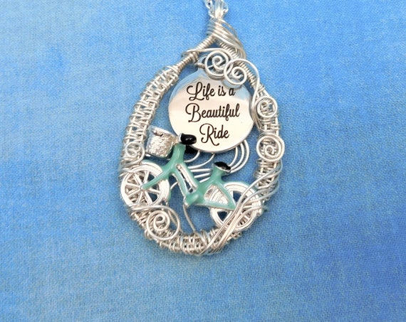 Unique Cyclist Necklace Bicycle Jewelry, Life is a Beautiful Ride Artisan Crafted Bike Pendant, Mother's Day Gift for Wife Girlfriend or Mom