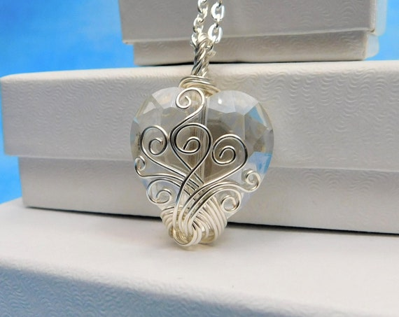 Artistic Wire Wrapped Crystal Heart Pendant, Unique Artisan Crafted Handmade Necklace, Wearable Art Jewelry Anniversary Gift for Wife