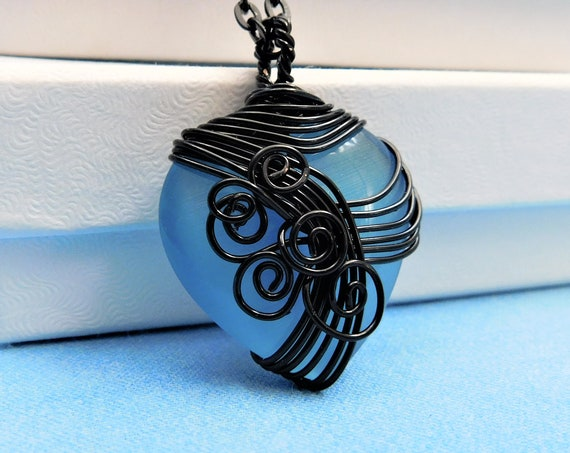 Black Wire Wrapped Blue Heart Necklace, Unique Wearable Art Jewelry, Artistic Pendant for Ladies Birthday or Anniversary Present for Wife