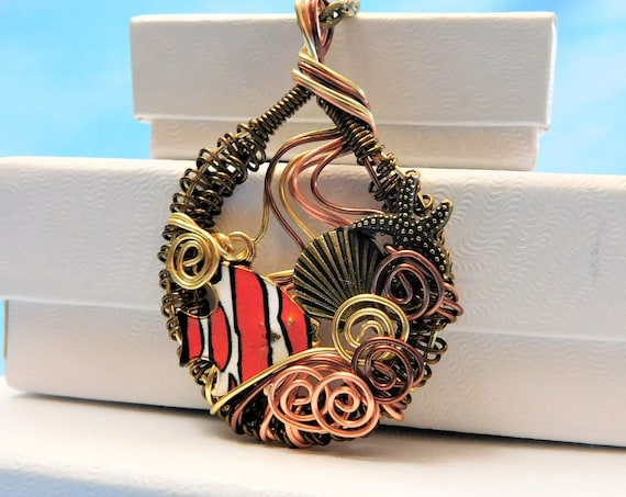 Fish Necklace, Ocean Theme Pendant, Woven Wire Wrapped Artistic Beach Jewelry, Handmade One of a Kind Sea Life Wearable Art, Present Ideas
