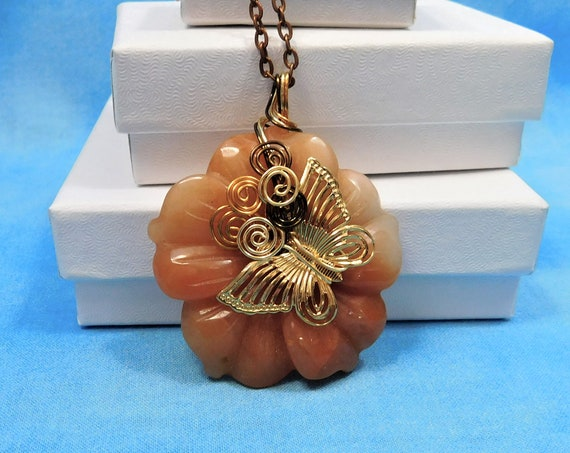 Peach Aventurine Necklace, Butterfly Flower Pendant, Unique Wire Wrapped Gemstone Jewelry, Artisan Crafted One of a Kind Gift for Women