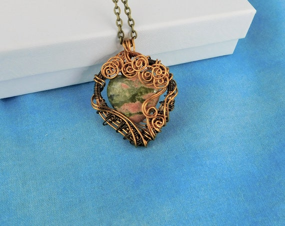 Wire Wrapped Heart Shaped Unakite Necklace, Unique Green Gemstone Pendant Present for Wife, Artisan Crafted  Wearable Art Jewelry Gift