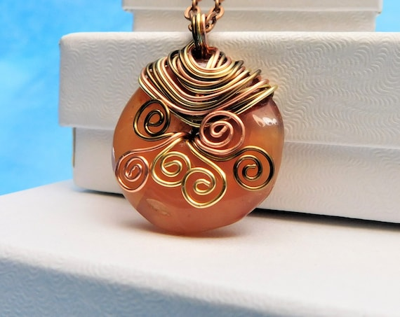 Wire Wrapped Carnelian Pendant, Unique Artisan Crafted Gemstone Donut Necklace, Artistic Jewelry Gift Wearable Art Present Ideas for Women