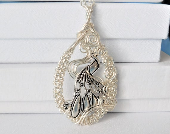 Artisan Crafted Peacock Necklace, Artistic Handmade Bird Pendant, Unique Woven Wire Wrapped Jewelry, Ladies Anniversary or Birthday Present