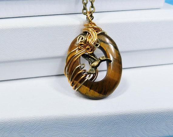 Artistic Hummingbird Necklace Tiger Eye Pendant, Gemstone Pendant Wearable Art Memorial Jewelry, Bereavement Present or Sympathy Gift