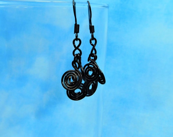 Black Wire Wrapped Earrings Gift Ideas for Mom Wife Girlfriend Unique Artisan Crafted Handmade Jewelry Birthday Present Mother's Day  Ideas
