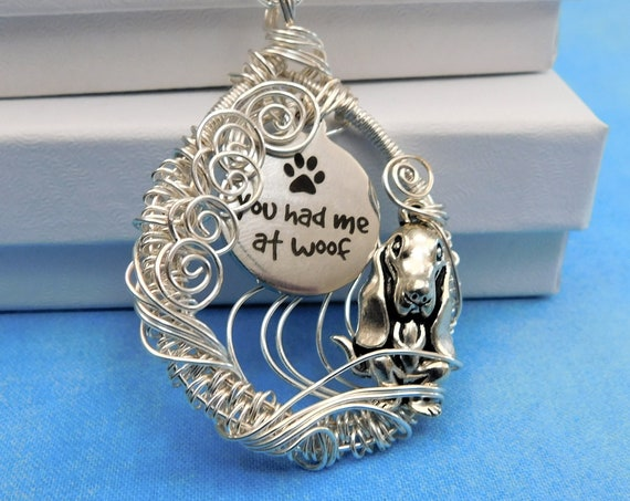 Puppy Paw Print Pendant Pet Memorial Jewelry, Animal Theme Dog Lover Gift Necklace, Unique Wire Wrapped Artistic Present, You Had Me at Woof