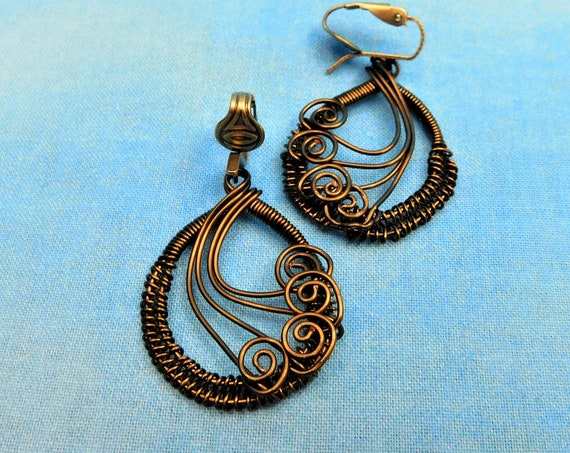 Unique Woven Wire Wrapped Non Pierced Clip on Dangle Earrings, Artisan Crafted Handmade Copper Wearable Art Jewelry Mother in Law Gift Ideas