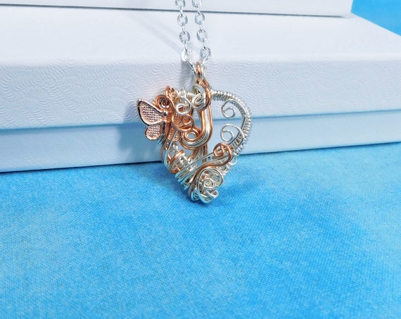 Artisan Crafted Rose Gold Heart Necklace, Unique Wire Wrapped Butterfly Pendant, Artistic Handmade Memorial Jewelry Bereavement Present