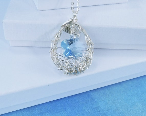 Unique Wire Wrapped Blue Flower Necklace Artisan Crafted Artistic Handmade Pendant One of a Kind Wearable Art Jewelry Anniversary Present