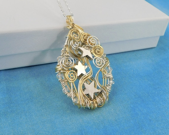 Artistic Silver Star Necklace Celestial Pendant, Wire Wrapped Star Theme Jewelry, Handcrafted Anniversary Present for Wife or Girlfriend