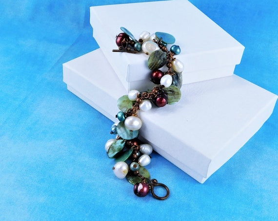 Artisan Crafted Freshwater Pearl Bracelet, Beaded Cluster Gemstone Jewelry Gift for Women, Unique Birthday or Anniversary Present for Her