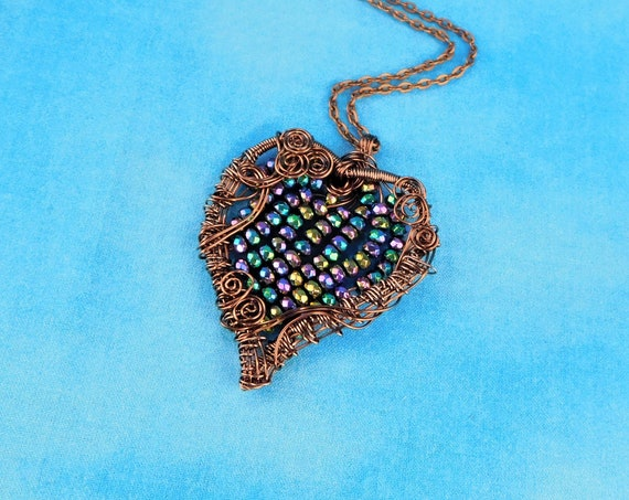 Artistic Hematite Necklace, Woven Wire Wrapped Beaded Copper Heart Pendant, Wearable Art Jewelry Unique 7th Anniversary Present for Wife
