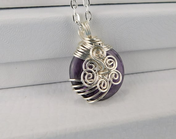 Wire Wrapped Amethyst Pendant, February Birthstone Necklace, Artisan Crafted, Unique Woven Wire Jewelry, One of a Kind Wearable Art