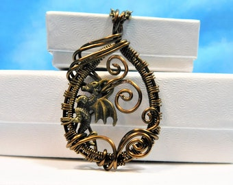 Dragon Necklace Jewelry Gift Fantasy Pendant Unique Wire Wrap Present for Her Wife Girlfriend Sister Daughter Best Friend Artistic Handmade