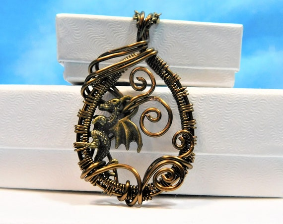 Unique Dragon Theme Jewelry, Rustic Copper Wire Wrapped Fantasy Necklace, Artistic Handmade Pendant, One of a Kind, Wearable Art Jewelry