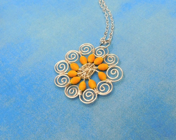 Unique Yellow Flower Necklace, Artisan Crafted Wire Wrapped Crystal Pendant Wearable Art Jewelry, Artistic Present Ideas for Wife or Mom