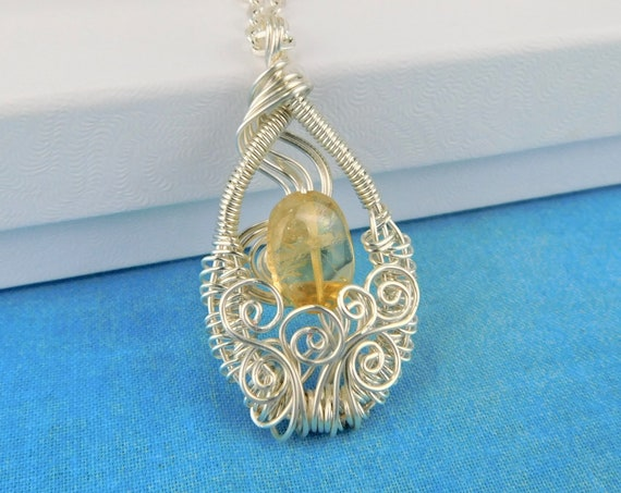 Citrine Pendant November Birthstone Necklace, Artisan Crafted Woven Wire Wrapped Wearable Art Gemstone Jewelry, Unique Birthday Gift Ideas
