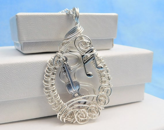 Music Teacher Gift Violin Necklace Unique Wire Wrap Pendant Stringed Instrument Orchestra Theme Musical Wife Jewelry Musician Present Ideas