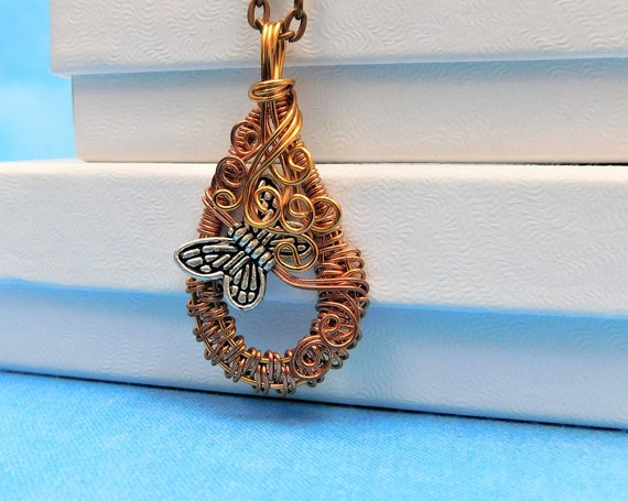 Rustic Copper Wire Wrapped Butterfly Necklace Memorial Pendant, Wearable Art Jewelry Present for Bereavement, or Unique Mother in Law Gift
