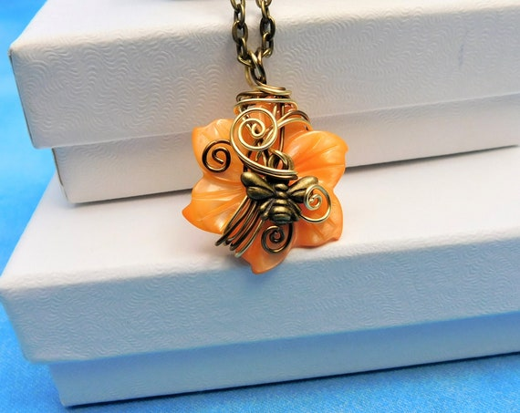 Wire Wrapped Bee Necklace, Unique Handmade Bumblebee and Mother of Pearl Flower Beekeeper Pendant, Insect Theme Wearable Art Jewelry Gift