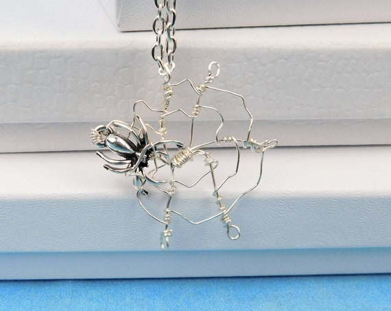 Spider Necklace, Unique Wire Wrapped Pendant, Gothic Wearable Art Jewelry, Handmade Artistic Spider Web Wearable Art, Artisan Crafted Gift