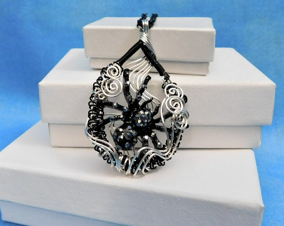 Spider Necklace Unique Black Woven Wire Wrapped Women's Goth Arachnid Pendant Unusual Jewelry Birthday Anniversary Present Ideas for Women