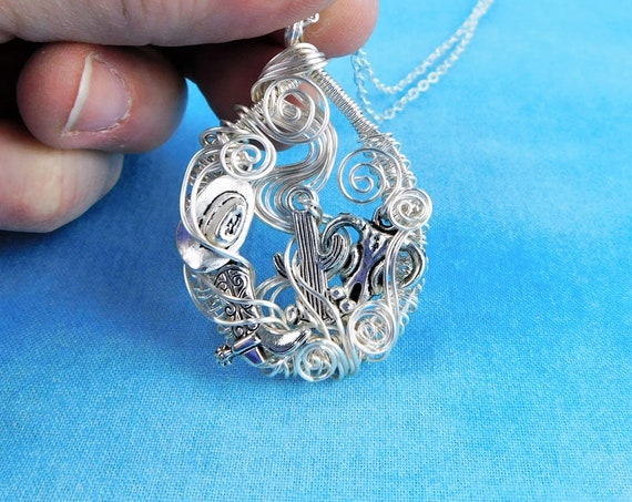 Cowgirl Necklace Western Theme Jewelry Artisan Crafted Handmade Woven Wire Wrapped Wearable Art Rodeo Queen / Princess Barrel Racer Pendant