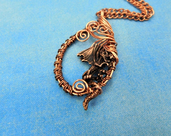 Artisan Crafted Dragon Necklace, Unique Fantasy Jewelry, Artistic Handmade Copper Wire Wrapped Pendant, Wearable Art Jewelry Present Ideas