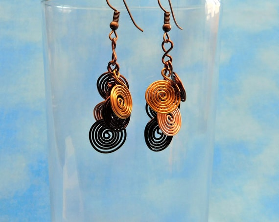 Rustic Copper Earrings, Unique Artisan Crafted Coil Cluster Dangles, Wire Wrapped Wearable Art Jewelry 7th Anniversary Gift for Wife