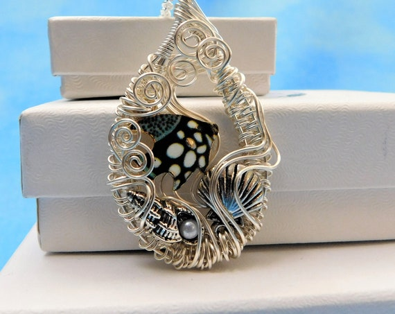Swimming Fish Beach Theme Necklace, Fun Ocean Life Pendant, Unique Wire Wrapped Jewelry, One of a Kind Whimsical Wearable Art Present Ideas