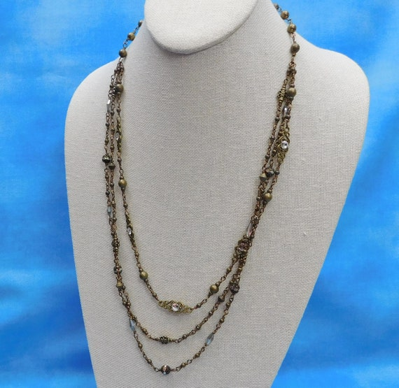 Artisan Crafted Triple Strand Necklace, Unique Handcrafted Wire Wrapped Beaded Link Jewelry, Wearable Art Christmas Present Ideas for Women
