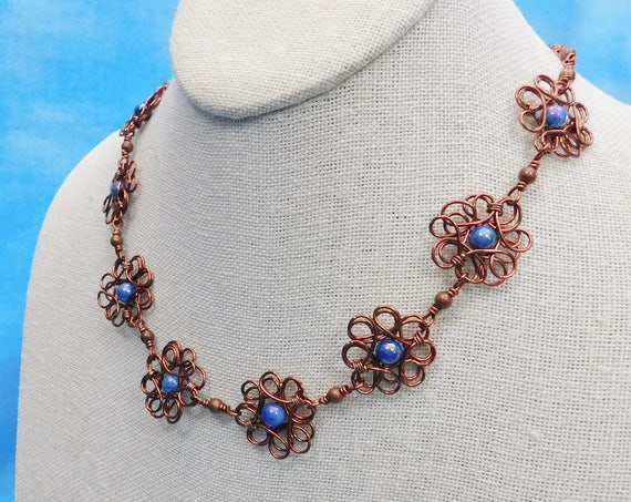 Copper Flower Necklace, Unique Artisan Crafted Sculpted Wire Wrapped Jewelry, One of a Kind Artistic Handmade Wearable Art, Present Ideas