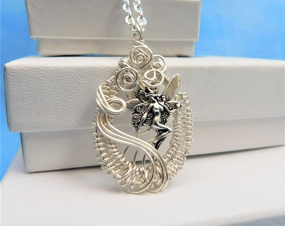 Artistic Wire Wrapped Fairy Necklace, Unique Handcrafted Pendant, Wearable Art Jewelry, Mother's Day Present Ideas for Mother in Law Gift