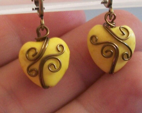 Non Pierced Earrings, Unique Wire Wrap Yellow Ceramic Heart Clip-on Dangles, Artistic Wearable Art Jewelry Christmas Present Ideas for Women