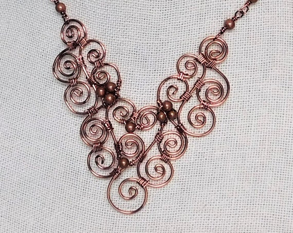 Artisan Crafted Copper Statement Necklace, Unique Wire Wrapped Jewelry, Artistic Handcrafted 7th Anniversary Gift, Wife Present Ideas