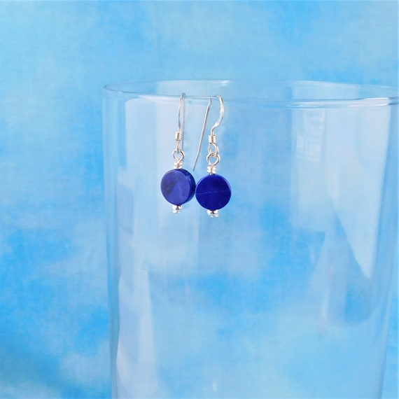 Simple Lapis Lazuli Earrings, Round Blue Gemstone Dangles Ladies' Unique Handmade Jewelry Birthday Anniversary Present Ideas for Women